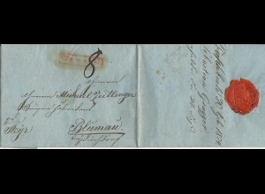 Österreich 1834, roter R1 Unzmarkt auf Porto Brief v. Tiefenbach n. Blumau