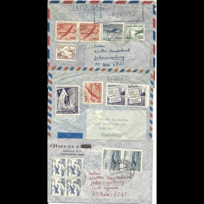 Chile 1961, 3 Luftpost Brief m. versch. Frankaturen nach Südafrika, 1x Reko