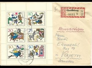 DDR Märchen Kleinbogen auf Einschreiben Brief v. Quedlinburg