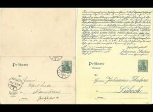 DR P67, v. Lübeck gebr. 5 Pf. Doppel Ganzsache m. rücks. Lotterie Zudruck.