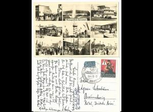 Hannover Messegelände, 1953 gebr. Mehrbild sw-AK m. entsprechendem Sonderstempel