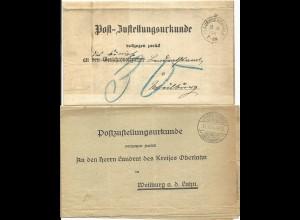 DR 1895/1934, 2 Post Zustellungsurkunden m. versch. Stpln. v. Laubuseschbach