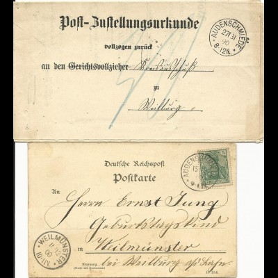 DR 1900/13, Post Zustellungsurkunde u. Karte je m. K1 Audenschmiede