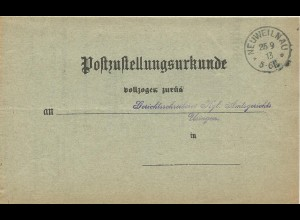 DR 1913, Post Zustellungsurkunde m. K1 Neuweilnau