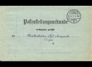 DR 1911, Post Zustellungsurkunde m. Stempel USINGEN