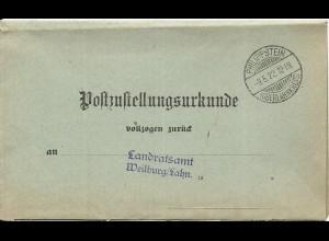 DR 1922, Post Zustellungsurkunde m. Stempel Philippstein (Oberlahnkreis)