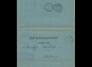 DR 1901, Post Zustellungsurkunde m. K1 MERENBERG, rs. 2 versch. Stpl. Weilburg