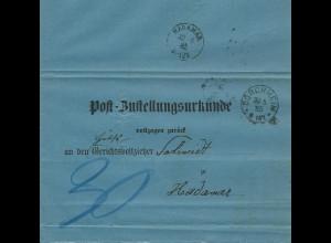 DR 1885, Post Zustellungsurkunde m. K1 DORCHHEIM u. rs. HADAMAR