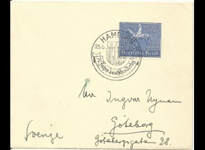 DR Nr. 698, EF 25 Pf. portorichtig auf Brief v. Hamburg n. Schweden