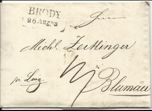 """Österreich 1836, L2 BRODY auf Porto Brief """"pr.Linz"""" n. Blumau"""