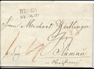Österreich 1836, L2 BRODY klar auf Porto Brief pr. Linz n. Blumau