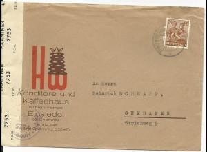 1947, 24 Pf. auf Zensur Brief m. Reklame v. Einsiedel bei Chemnitz n. Cuxhafen