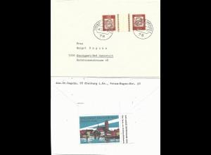 BRD 1964, Propaganda Vignette Wismar rs. auf Brief v. Freiburg m. Zusammendruck
