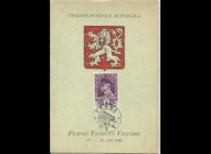 Tschechoslowakei 1946, Gedenkblatt m. 4 Marken u. Sonderstpl. Prag