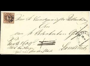 Bayern, MR 446 Rottenburg auf Brief m. voll-/breitrandiger 6 Kr.