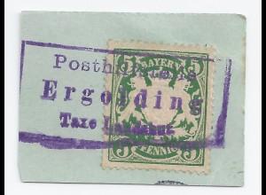 Bayern, Posthilfstelle Ergolding T. Landshut, Entwerterstpl. auf Briefstück #910