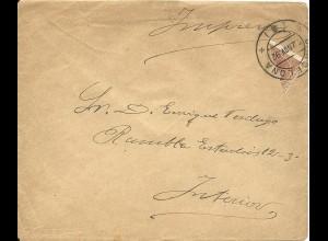 Spanien 1892, Diagonal Halbierung 10 C. auf Drucksache Brief v. Barcelona