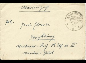 DR 1918, KD Marine Schiffspost No 87 (SMS Kurfürst) auf Feldpost Brief n. Bayern