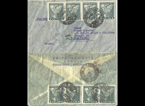 Chile 1939, MeF 8x1 P. vorder- u. rücks. auf Luftpost Brief nach Brasilien