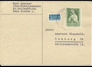 BRD 1952, EF 10+5 Pf. auf Postkarte v. Schöppenstedt. (Kat. 45.-)