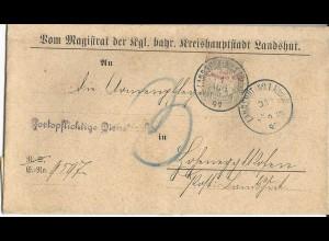 Bayern 1899, 3 Pf. Porto auf Orts Zustellbereich Brief Landshut Hohenegglkofen