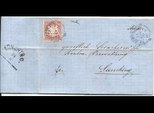 Bayern 1872, kl. K1 Regensburg in violett auf Brief m. 3 Kr. n. Sünching