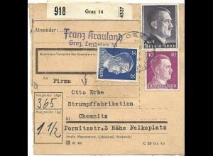 DR Österreich, 2 Mk.+25+40 Pf., Ostmark Paketkarte v. Graz n. Chemnitz