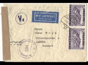 Österreich 1947, MeF Paar 1 S. auf Luftpost Zensur Brief v. Wien n. Dänemark.