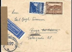 Österreich 1947, 20 G.+1 S. auf Luftpost Zensur Brief v. Wien n. Dänemark.