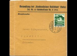 Liechtenstein 1943, Zeitungsschleife m. 5 Rp. v., Vaduz nach Schweden. #S724