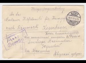 DR 1917, Mewe Weichsel, Polen, Offiziers KGF POW Zensur Brief n. Dänemark. #1316