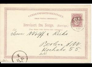 Norwegen 1884, 10 öre Ganzsache, sauber gest. STAVANGER