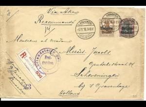 Dt. Bes. Belgien 1916, 15+50 C. auf Einschreiben Zensur Brief v. Lanaeken n. NL.