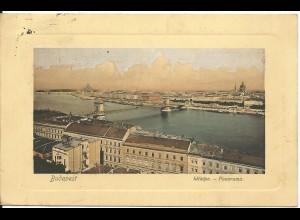 Ungarn, Budapest, 1910 gebr. Farb AK m. Rand-Prägung.