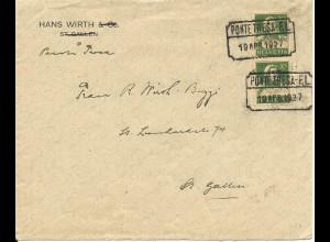 Schweiz 1927, PONTE TRESA F.L., bahnamtl. Stpl. auf Brief m. Paar 10 C.