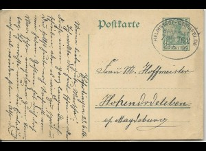 DR 1916, Bahnpost Stpl. Helmstedt-Oebisfelde klar auf Ganzsache v. Weferlingen