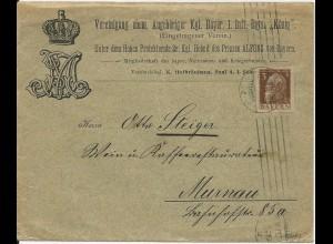 Bayern 1912, Umschlag m. königlichen Wappenabbildungen v. München n. Murnau