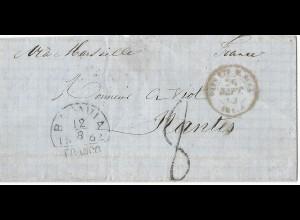 "NL Indien 1862, Batavia Franco auf Brief via Suez m. Frankreich Porto Stpl. ""8"""
