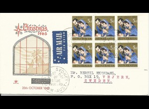 Australien 1965, 6x5d Chrismas on airmail FDC to Sweden. Weihnachten.