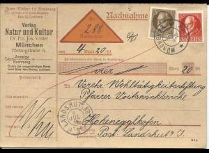 Bayern 1916, 3+10 Pf. auf Nachnahme Karte v. München 23 n. Hohenegglkofen