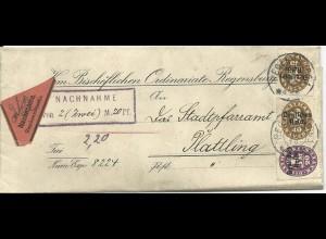 1920, 20+40+40 Pf. Bayern Dienst Abschied DR auf Nachnahme Brief v. Regensburg
