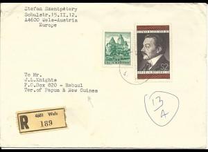 Österreich 1975, 10+2 S. auf Einschreiben Brief v. Wels n. Papua Neu Guinea!