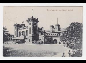 Saarbrücken Haupt Bahnhof, 1924 gebr. sw AK