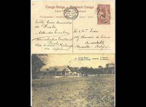 Belgisch Congo 1913, gebr. 10 C. Bild Ganzsache m. Bauer beim Pflügen, Ackerbau
