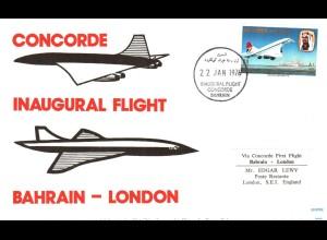 Bahrain London 1976, Concorde Erst Flug Brief. #2666