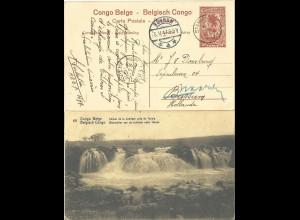 Belgisch Congo 1917, gebr. 10 C. Bild Ganzsache v. Stanleyville n. NL