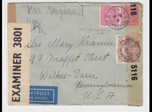 Schweden 1943, Paar 120+15 öre auf Luftpost Zensur Brief n. USA