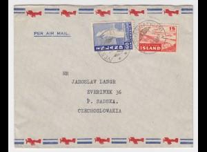 Island 1948, 15+60 Aur auf Luftpost Brief i.d. CSSR !