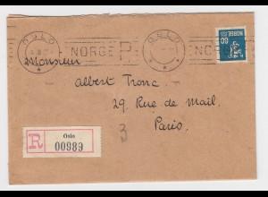 Norwegen 1928, OSLO NORGE R Einschreiben Maschinen Stpl. auf Brief m. 60 öre