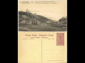"""Belgisch Congo, ungebr. 30 C. Bild Ganzsache m. Abb. """"Union Miniére"""". H&G64"""